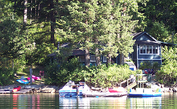 A great Cabin features a large open deck right on the beach.